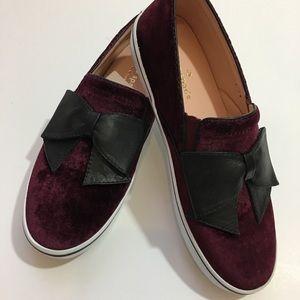Kate Spade Shoes Burgundy Velvet with Black Bow